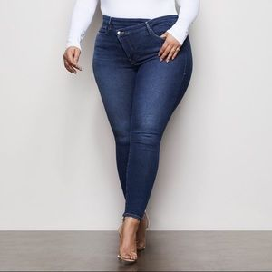 Crossover High Waist Skinny Jeans - Size 15